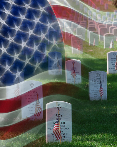 Flag Superimposed over Gravestones